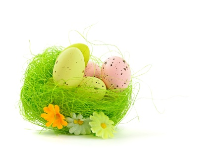 decorative easter nest with eggs Stock Photo - 9229943