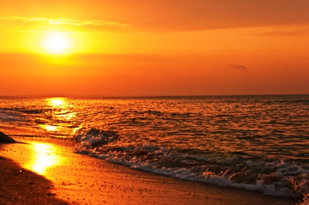 over the sea: Sunset on the sea