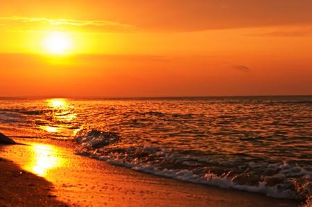 sunset beach: Sunset on the sea