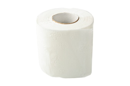 toilet paper isolated on white photo