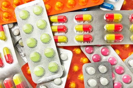 blister: Veelkleurige geneeskunde pillen achtergrond Stockfoto