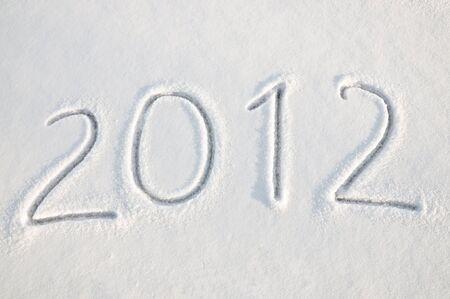 2012 text on snow photo