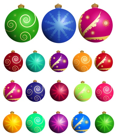 Christmas balls set Stock Vector - 11413461