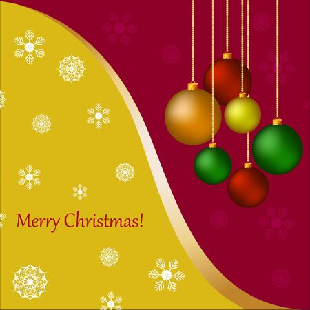 Christmas card with  balls and greetings Vector