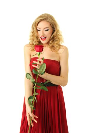 Valentine girl with rose photo