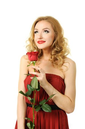 Valentine girl with rose Stock Photo - 12019886
