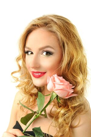 portrait of a girl with rose photo