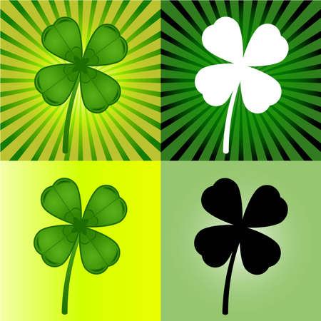 four objects: set of four stylized  clover leaves
