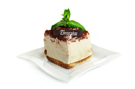 Chocolate tiramisu cake isolated on the white photo