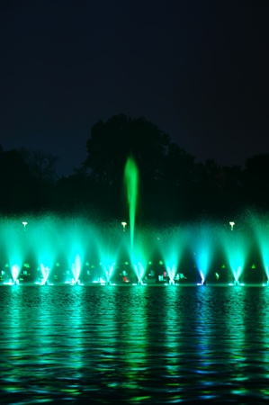 Multimedia laser colorful musical show in Wroclaw fountain photo