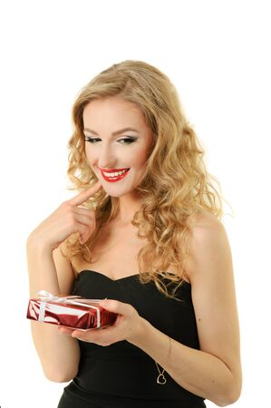 Valentine girl with gift Stock Photo - 16826185