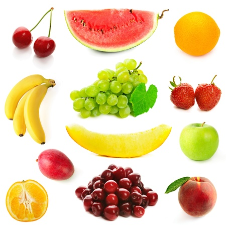 Collection of different fruits on the white photo
