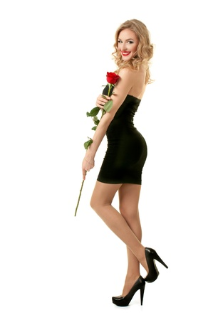 Valentine girl with rose Stock Photo - 17597843