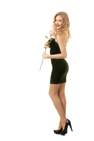 Valentine girl with rose Stock Photo - 17597840