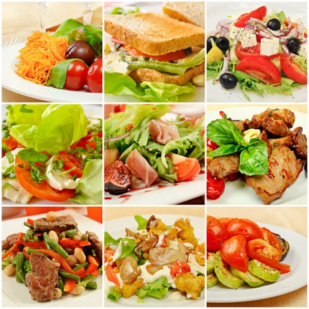 plato de comida: Collage con las comidas Foto de archivo