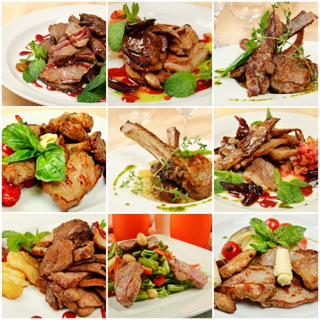 Collage with meat meals photo