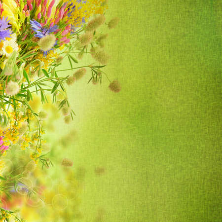 Grunge bouquet of summer flowers  with bokeh and copy space,  floral background photo