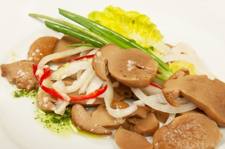 Marinated sliced mushrooms photo