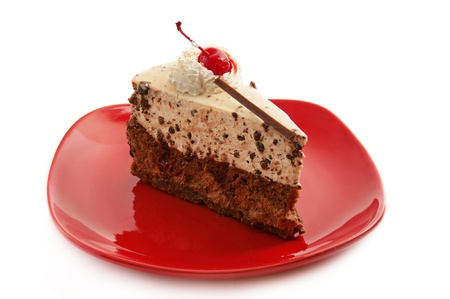 Chocolate cake on red plate photo