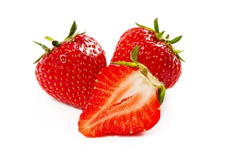 Three strawberry isolated on a white photo