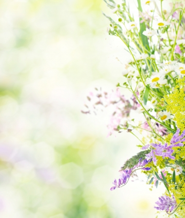 Bouquet of summer meadow flowers  with bokeh and copy space,  floral background photo