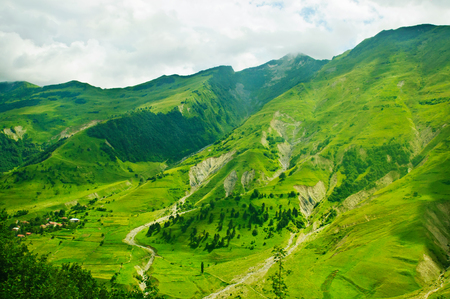Green caucasus  mountains landscape in Georgia, natural background photo
