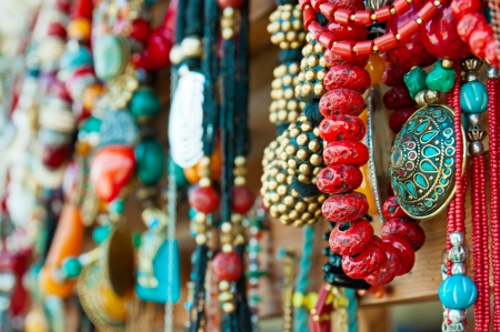 Jewelry at market in Mtsheta, the tourist capital of Georgia photo