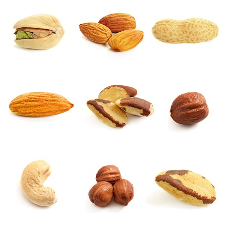 ground nuts: Nuts collection isolated on a white background Stock Photo