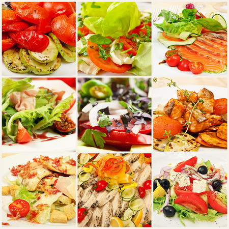 Collage (set) from various kinds of restaurant menu dishes photo