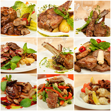 Collage (set) from various kinds of restaurant meat  menu dishes photo