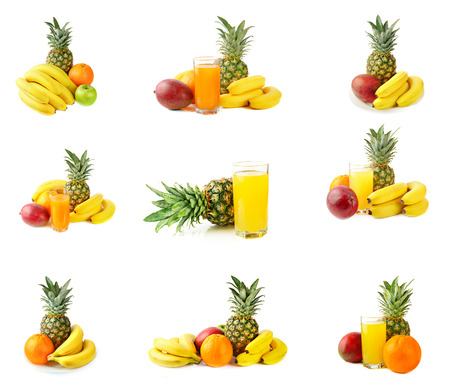 Fresh tropical fruits collection isolated on white background with juice photo