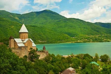 svaneti: Green caucasus  mountains landscape in Georgia with monastery