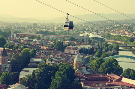 View of the Tbilisi - anсient city and the capital of Georgia, retro style