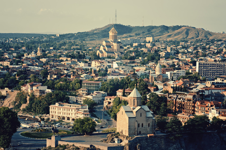 View of the Tbilisi - anсient city and the capital of Georgia, retro style photo