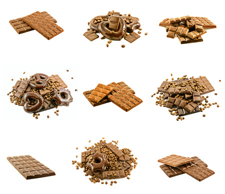 Chocolate bars with coffee beans and cake collection photo