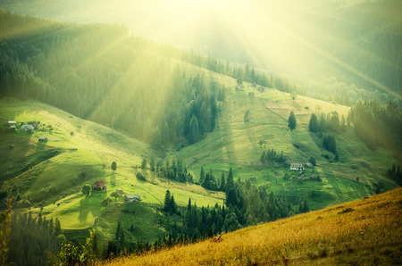 sunbeam: Carpathian mountain sunny landscape
