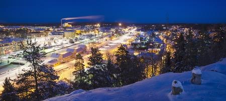 urban idyll: View of small swedish  european  town Soderhamn at night, panoramic view