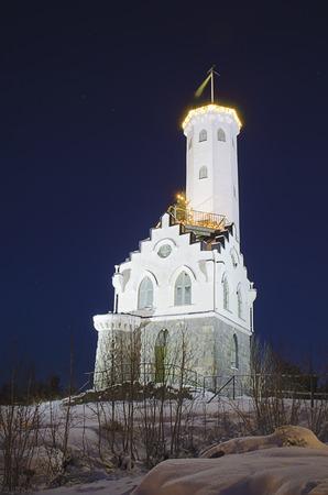 urban idyll: Oscarsborg tower at night in Soderhamn, Sweden