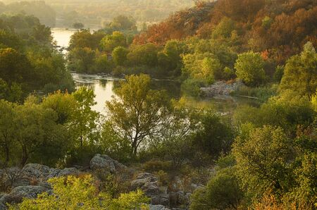 trees seasonal: Rural autumn sunrise landscape with river and  colorful trees, seasonal background