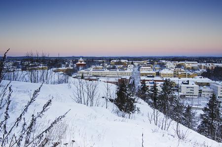 urban idyll: View of small swedish  european  town Soderhamn at sunrise