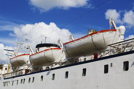 lifeboats: Lifeboats on board of the big sea yacht in Stocholm, Sweden