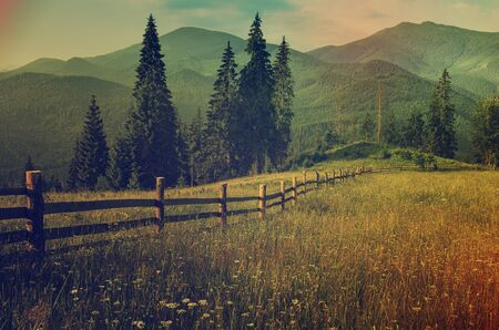 Carpathian mountains summer landscape with green hills and wooden fence, vintage hipster amazing background