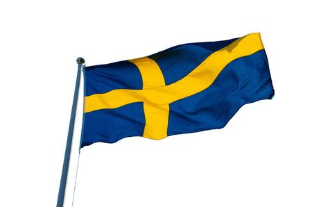 flagpoles: Flag of Sweden isolated on the white background, national patriotic symbol