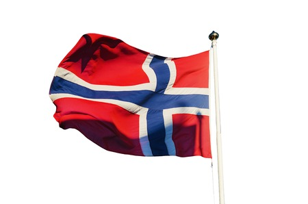flagpoles: Flag of Norway isolated on the white background, national patriotic symbol