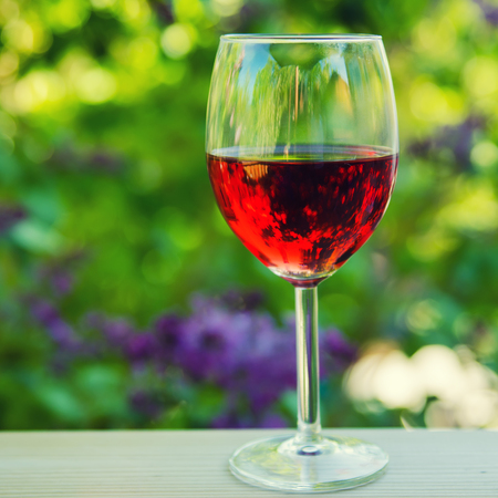 background summer: Glass of red wine in the garden, natural drink organic background
