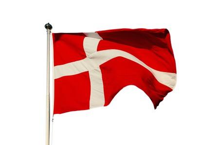 flagpoles: Flag of Denmark isolated on the white background, national patriotic symbol