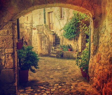 Narrow street of medieval tuff city Sorano with arch, green plants and cobblestone, travel Italy vintage  background Stock Photo