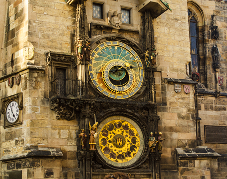 praga: Close up of Prague ancient famous astronomical clock, called orloj, with zodiac signs in the center of medieval Czech capital Stock Photo