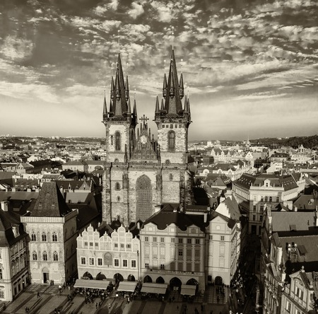 eastern european: Old Town Square with Church of Our Lady before Tyn in eastern european Czech capital Prague - view from Town Hall, monochrome black and white image