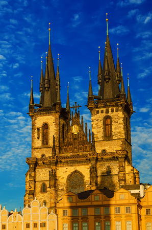 Church of Our Lady before Tyn in Prague city, travel european background